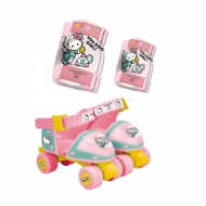 Vaikiškas reguliuojanų riedučių ir apsaugų rinkinys Hello Kitty