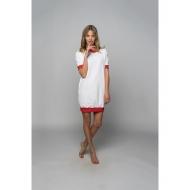 Sofa Killer balta taškuota suknelė su raudonais rankogaliais