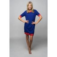 Sofa Killer mėlyna taškuota suknelė su raudonais rankogaliais